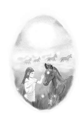 'Epona and the Unicorn Foal' by David Lewis and illustrated by Megan Higginson
