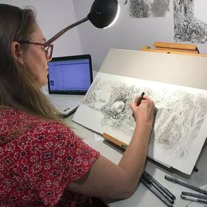 Ester de Boer working on the final illustration for 'Raymund and the Fear Monster'